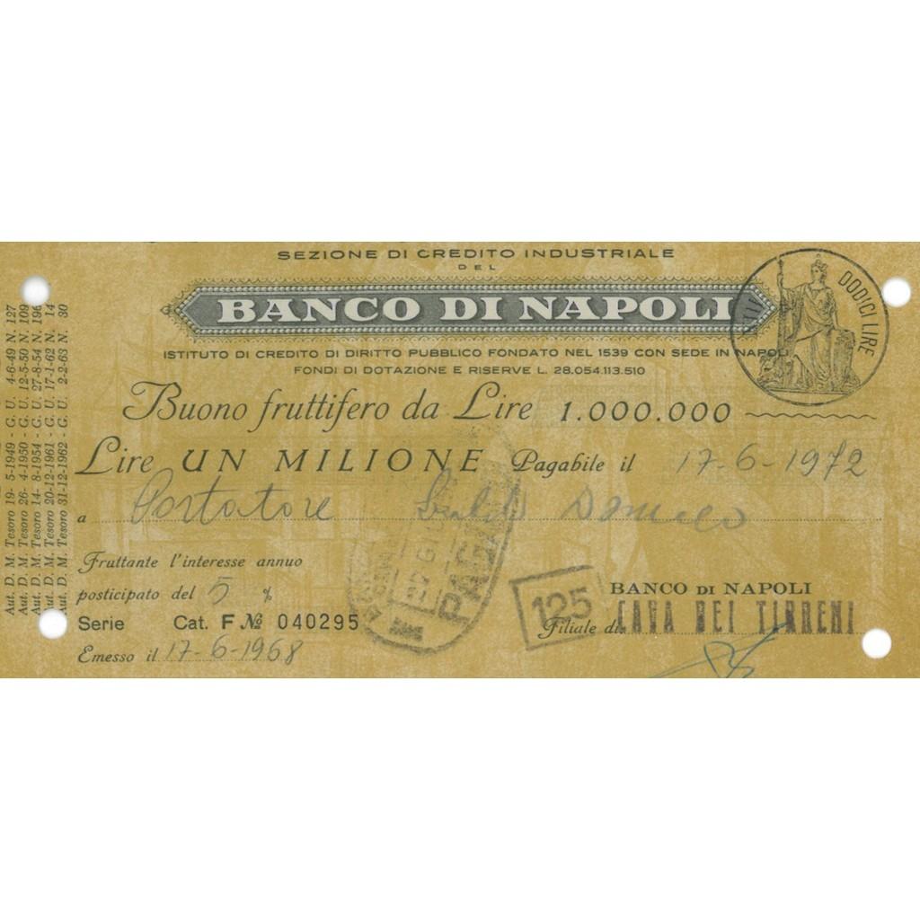 BANCO DI NAPOLI BUONO FRUTTIFERO DA LIRE 1 MILIONE CAVA DEI TIRRENI 1968