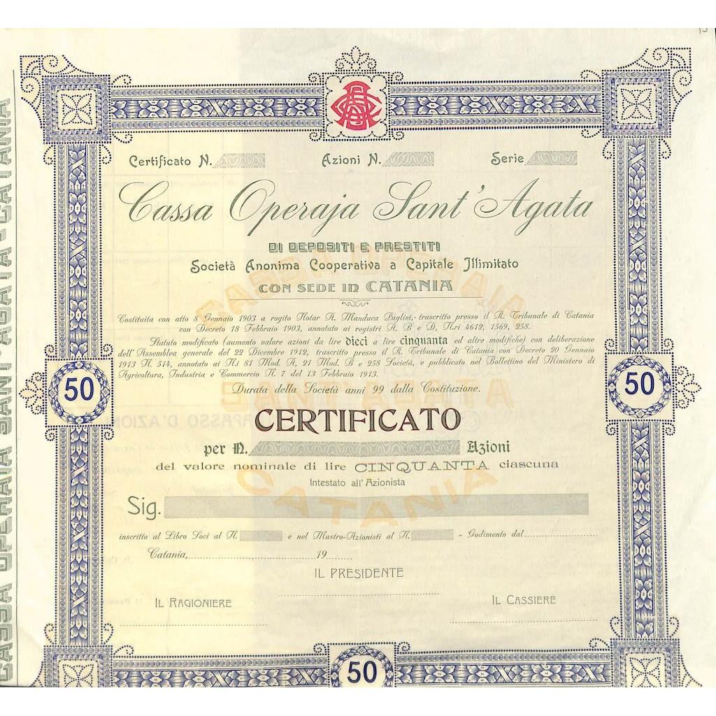 CASSA OPERAIA SANT' AGATA - AZIONI CATANIA 1903