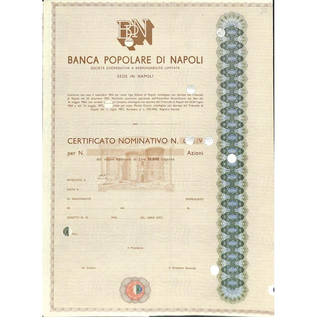 BANCA DI NAPOLI - AZIONI - 1955