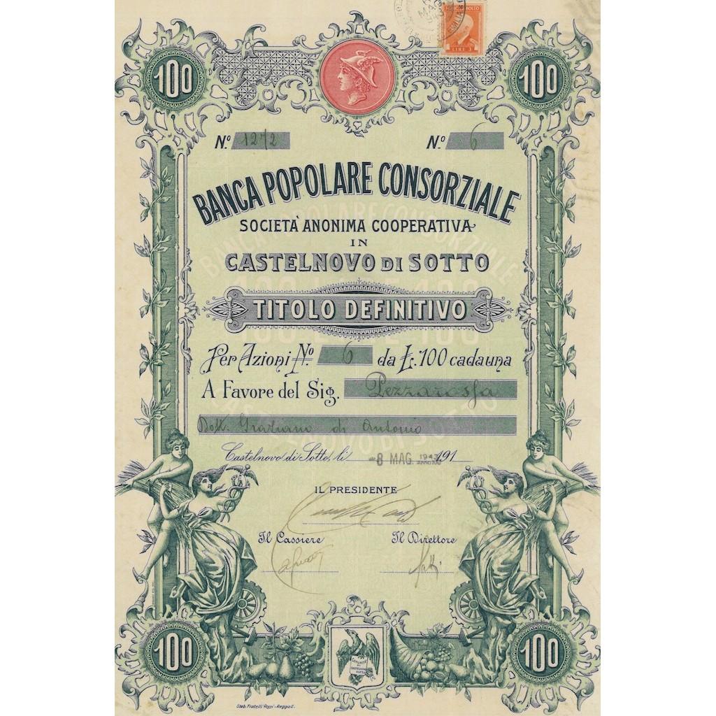 BANCA POPOLARE CONSORZIALE SOC.ANON. COOP. IN CASTELNOVO DI SOTTO AZIONI 1943