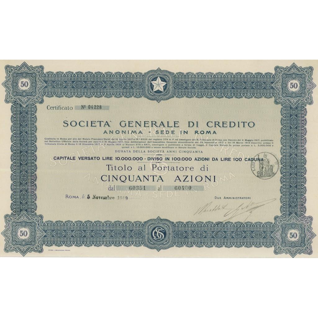 SOC. GENERALE DI CREDITO ANONIMA SEDE IN ROMA 50 AZIONI ROMA 1919