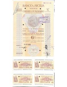 BANCO DI SICILIA CREDITO FONDIARIO - 1 OBBLIGAZ. 6% - PALERMO 1973