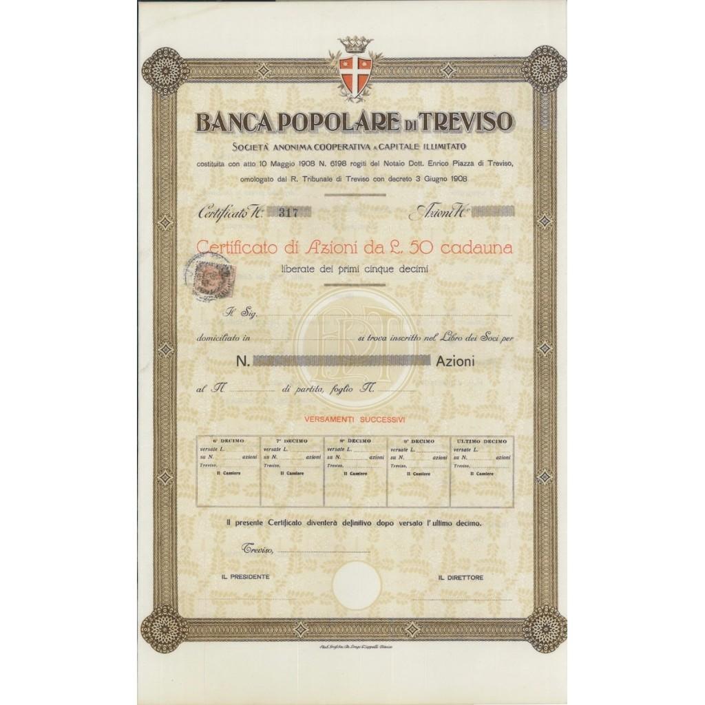 BANCA POPOLARE DI TREVISO - AZIONI 1908