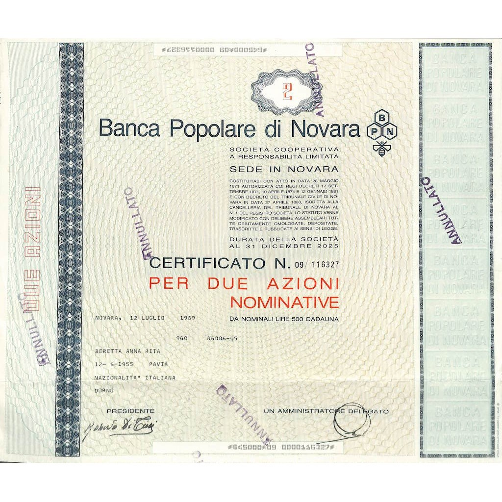 BANCA POPOLARE DI NOVARA - 2 AZIONI NOVARA 1989