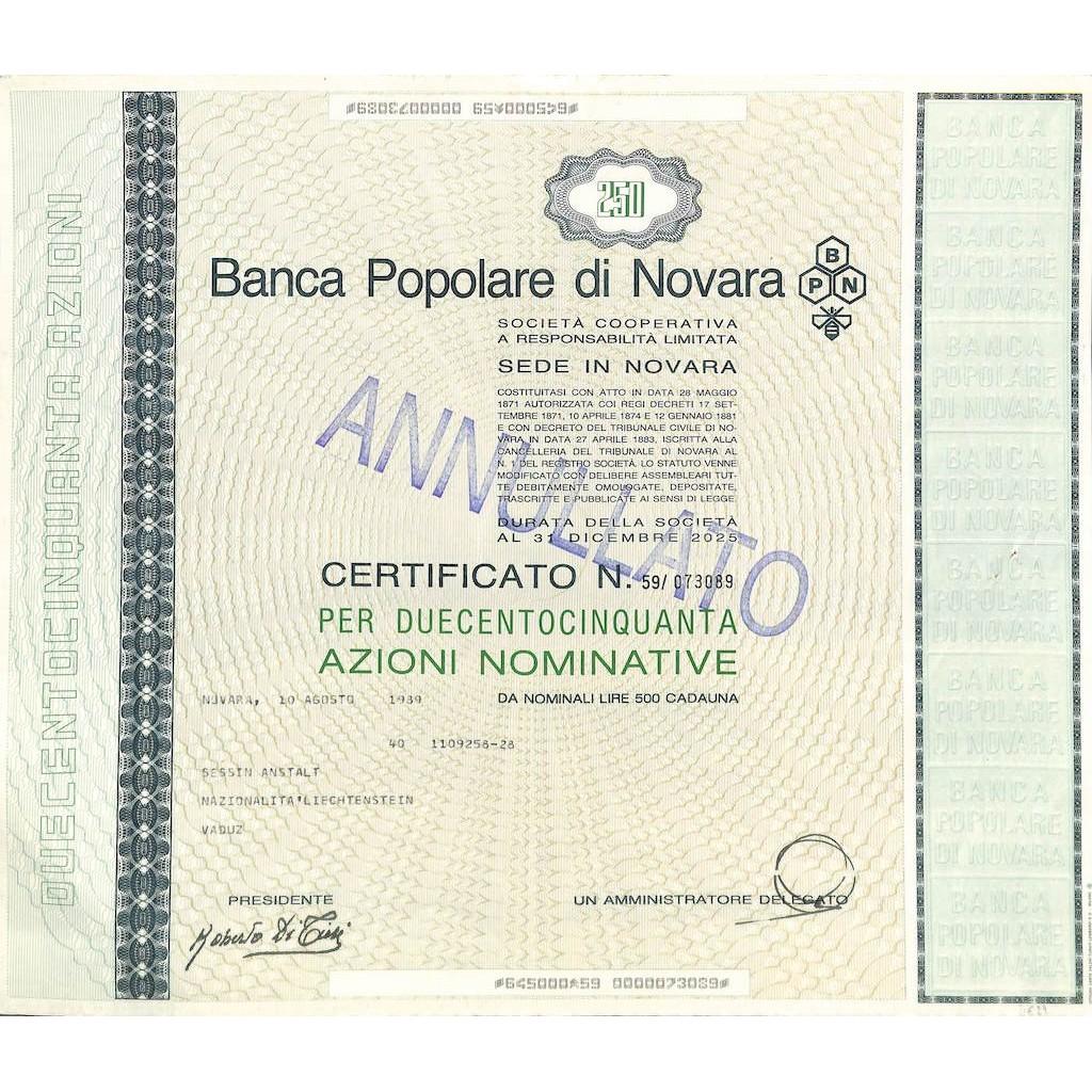 BANCA POPOLARE DI NOVARA - 250 AZIONI NOVARA 1989
