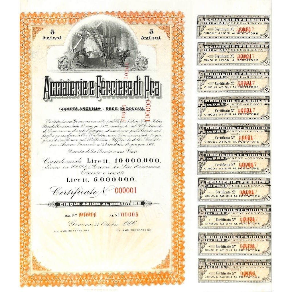 ACCIAIERIE E FERRIERE DI PRA - 5 AZIONI GENOVA 1906