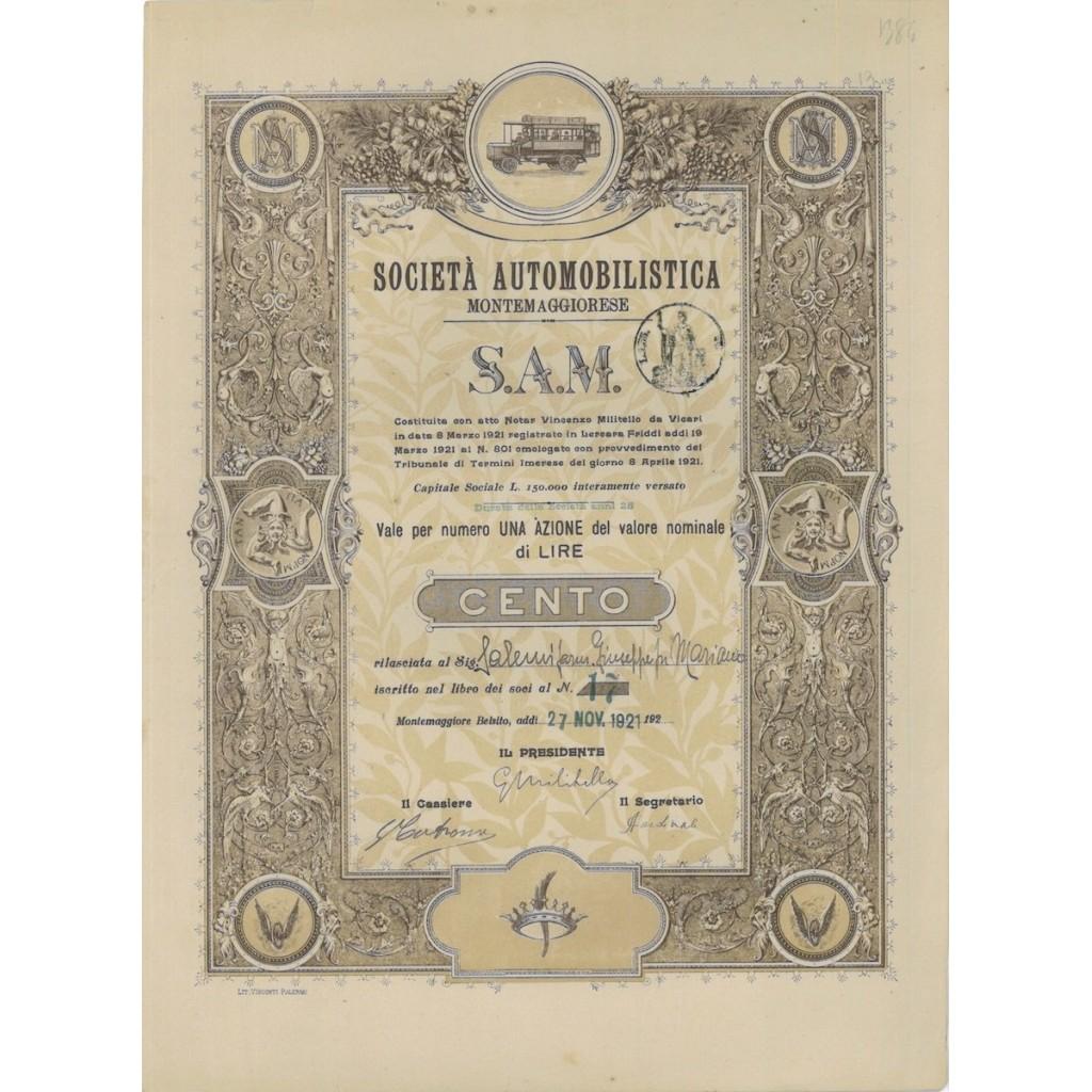 SOC. AUTOMOBILISTICA MONTEMAGGIORESE S.A.M. - 1 AZIONE 1921