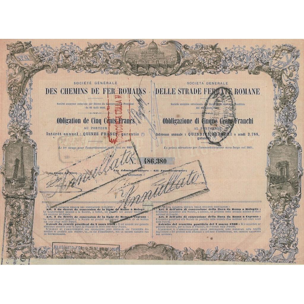 SOC. GENERALE DELLE STRADE FERRATE ROMANE OBBLIGAZIONE ROMA 1856
