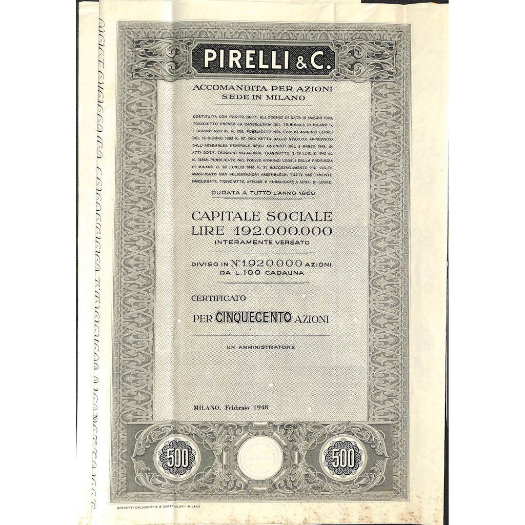 PIRELLI E C. - 500 AZIONI - MILANO 1948