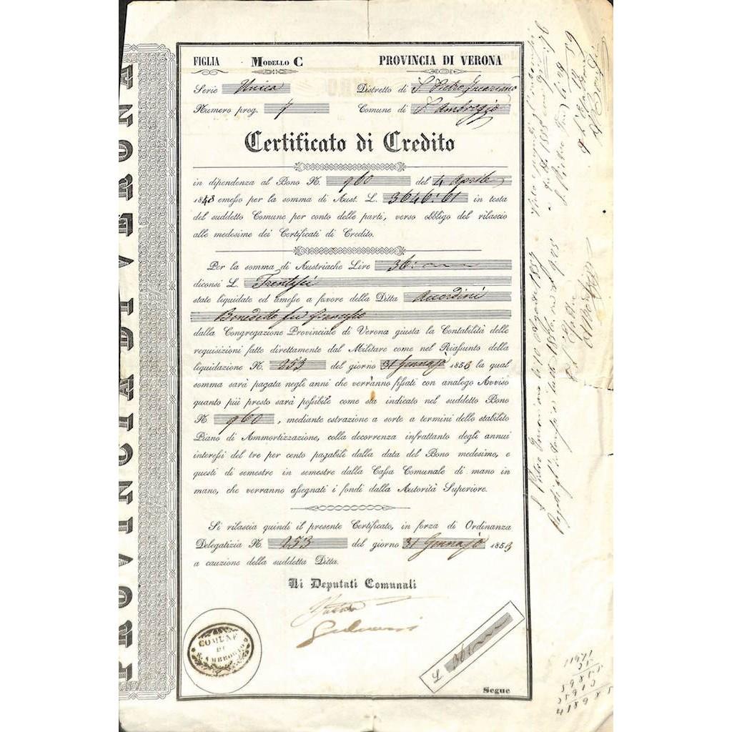PROVINCIA DI VERONA - COMUNE DI S. AMBROGIO - CERTIFICATO DI CREDITO 1853