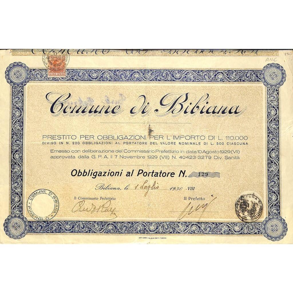COMUNE DI BIBIANA - OBBLIGAZIONI 1930