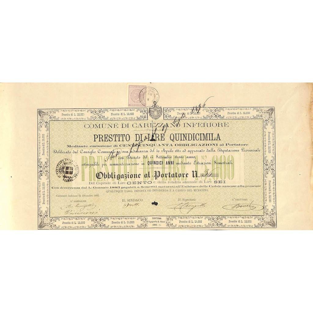 COMUNE DI CAREZZANO INFERIORE - 1 OBBLIGAZIONE 1882