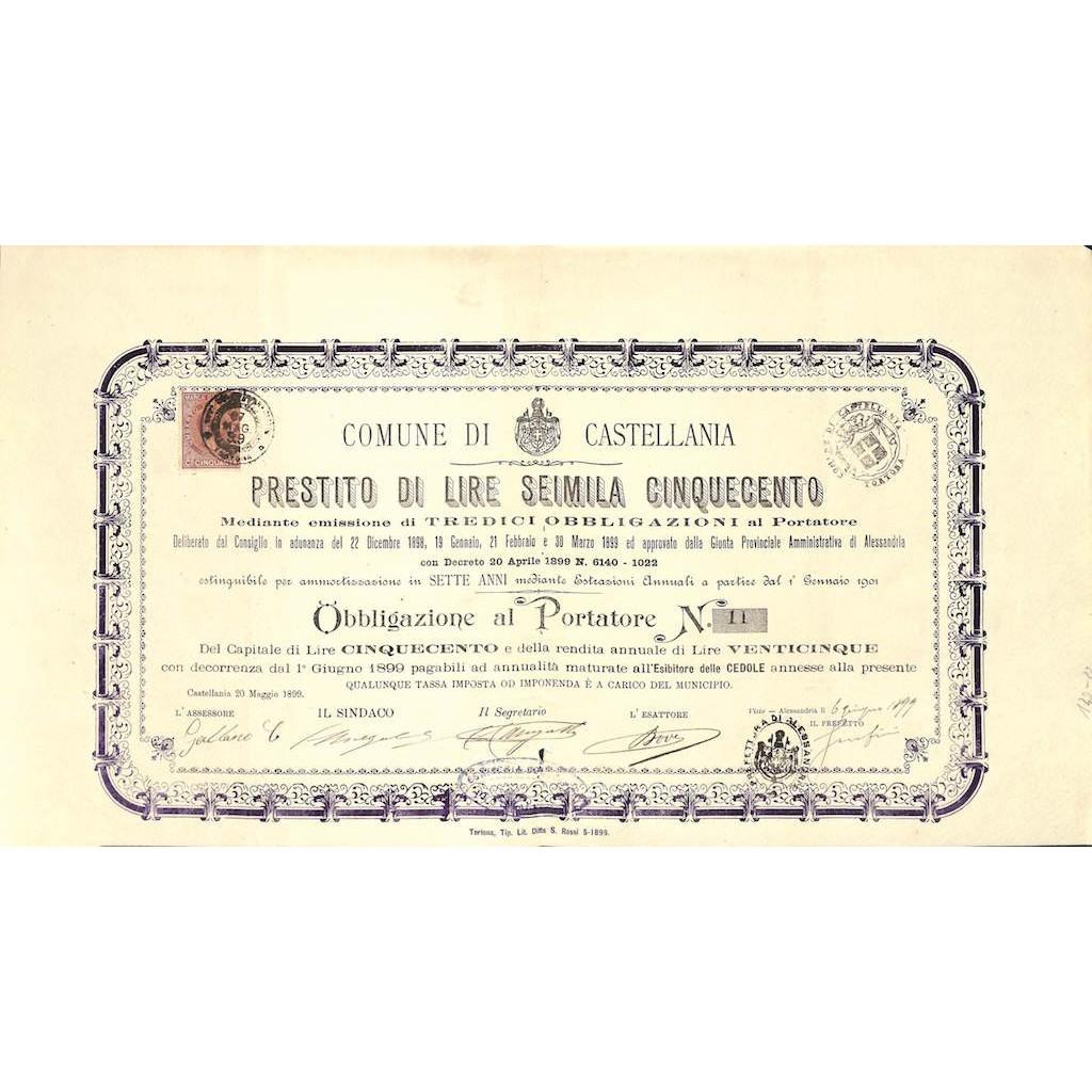 COMUNE DI CASTELLANIA - 1 OBBLIGAZIONE 1899