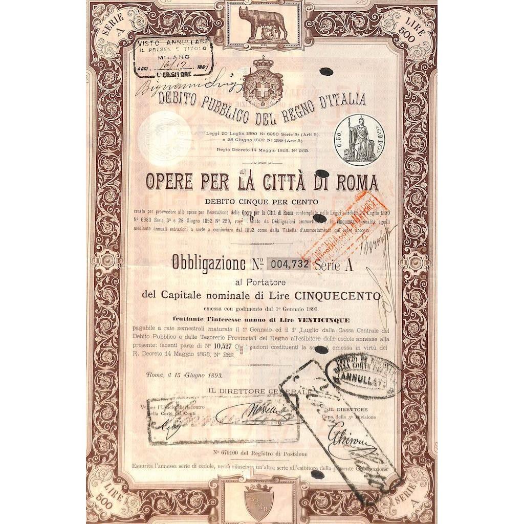 D. PUBBLICO REGNO D'ITALIA - OPERE PER LA CITTA' DI ROMA 1 OBB. 1893