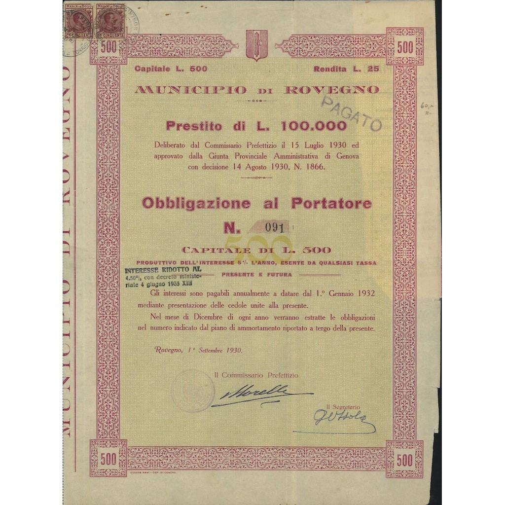 MUNICIPIO DI ROVEGNO - 1 OBBLIGAZIONE 1930