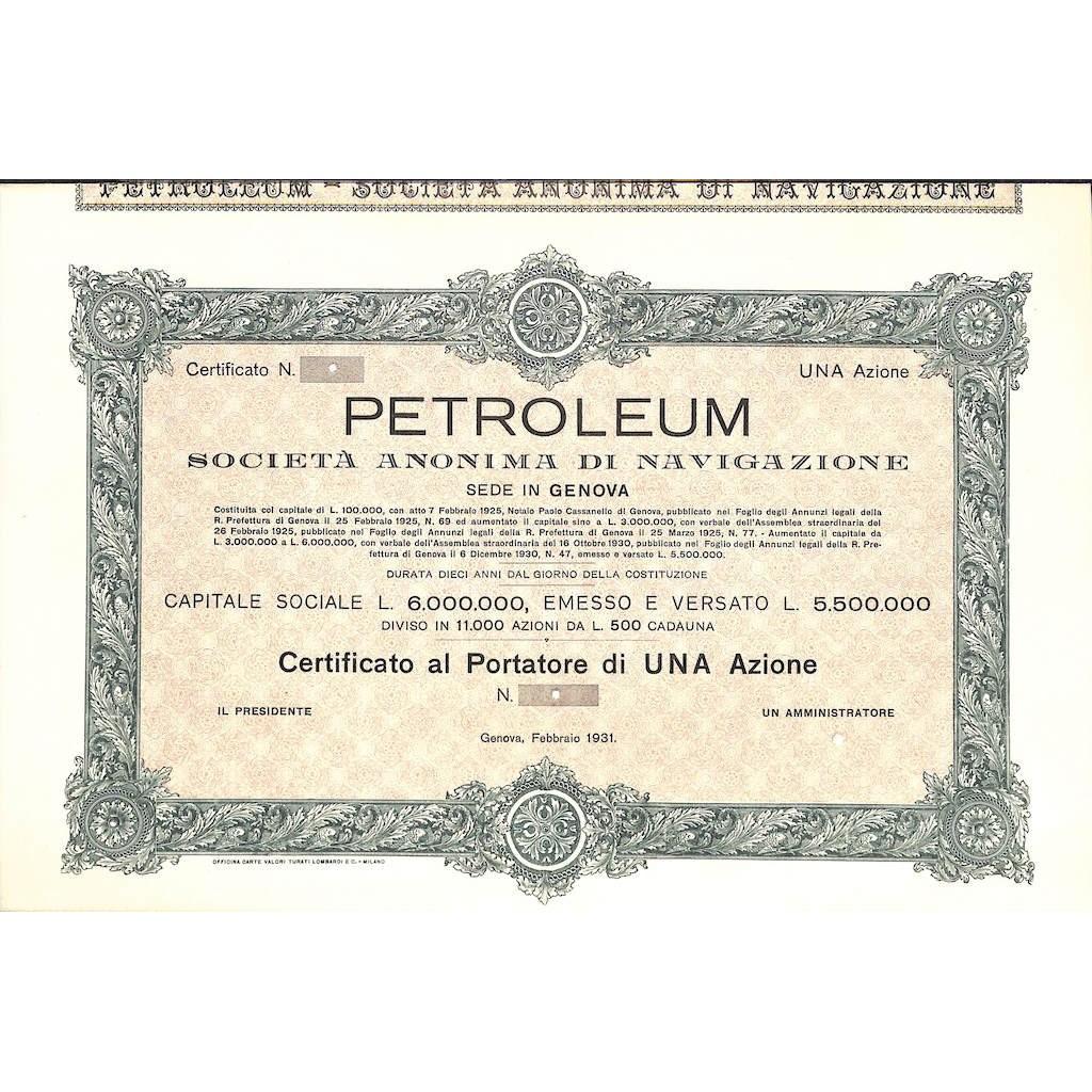 PETROLEUM - UNA AZIONE GENOVA 1931