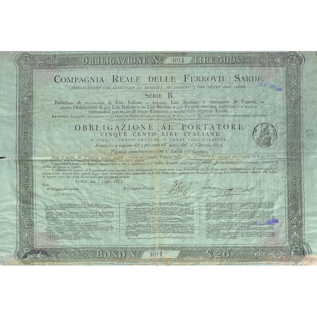 COMP. REALE DELLE FERROVIE SARDE - 1 OBBLIG. SERIE B ROMA 1873