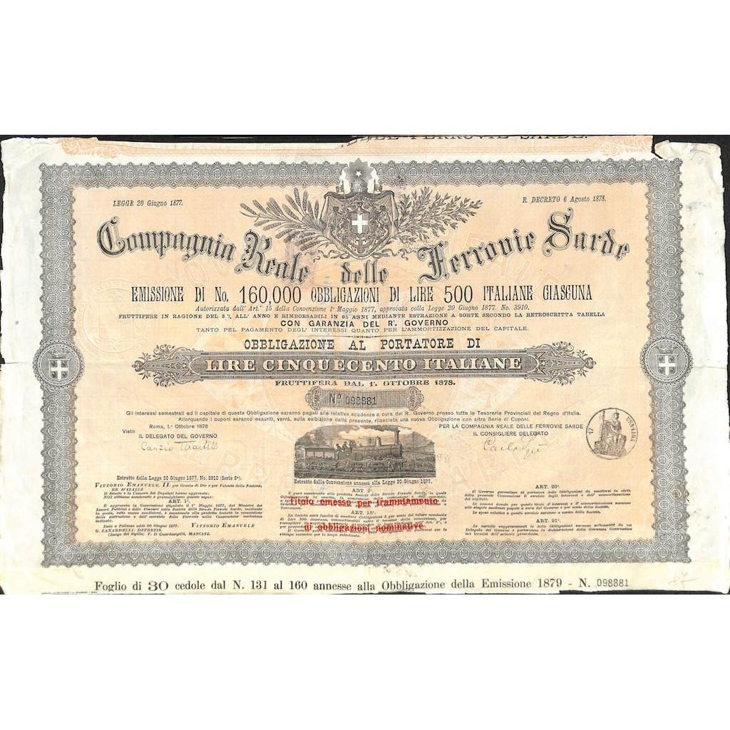 COMP. REALE DELLE FERROVIE SARDE - 1 OBBLIG. ROMA 1878