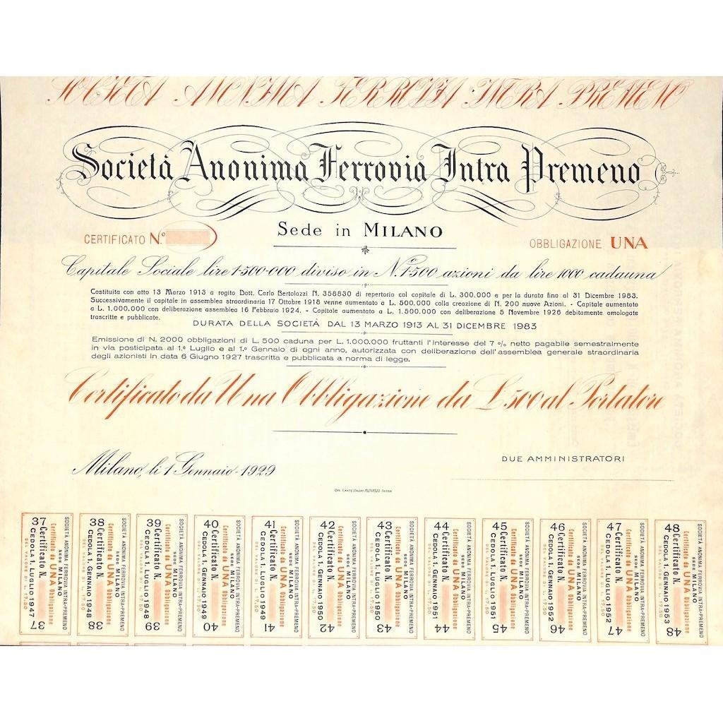 SOC. ANON. FERROVIA INTRA PREMENO - 1 OBBLIGAZIONE MILANO 1929