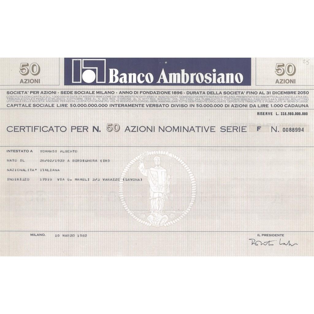 BANCO AMBROSIANO 50 AZIONI SERIE F MILANO