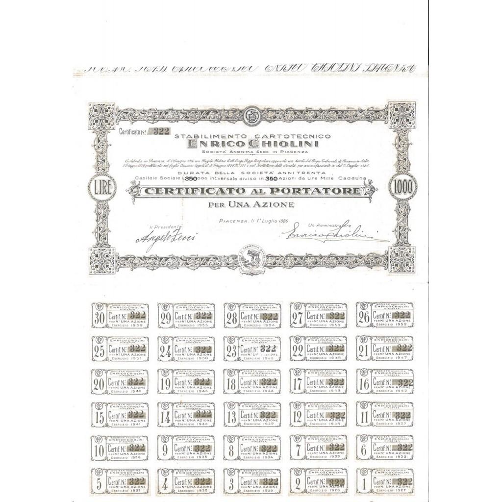 STAB. CARTOTECNICO ENRICO CHIOLINI - 1 AZIONE PIACENZA 1926