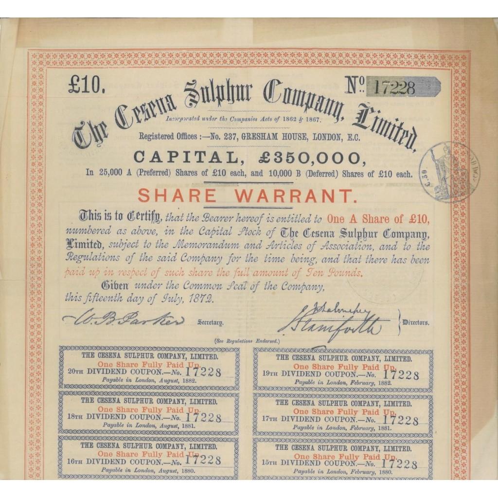 THE CESENA SULPHUR COMPANY LIMITED - 1 WARRANT 1872