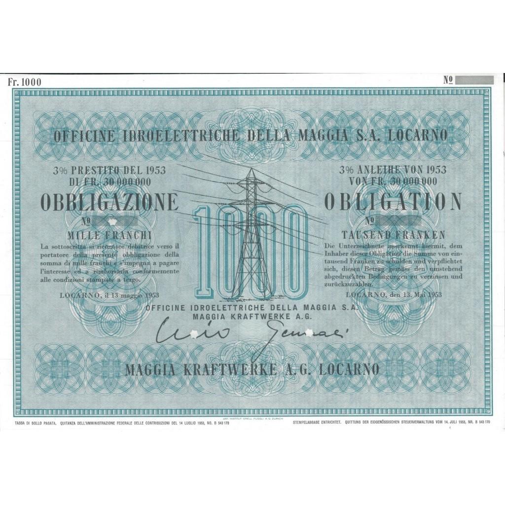 OFF. IDROELETTRICHE DELLA MAGGIA S.A. - 1 OBB. 3% LOCARNO 1953