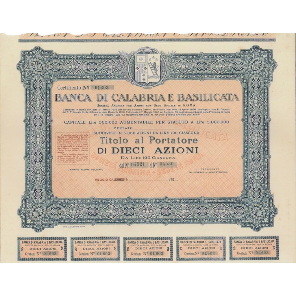 BANCA REGIONALE DI CALABRIA E BASILICATA - 10 AZIONI REGGIO C. 1926