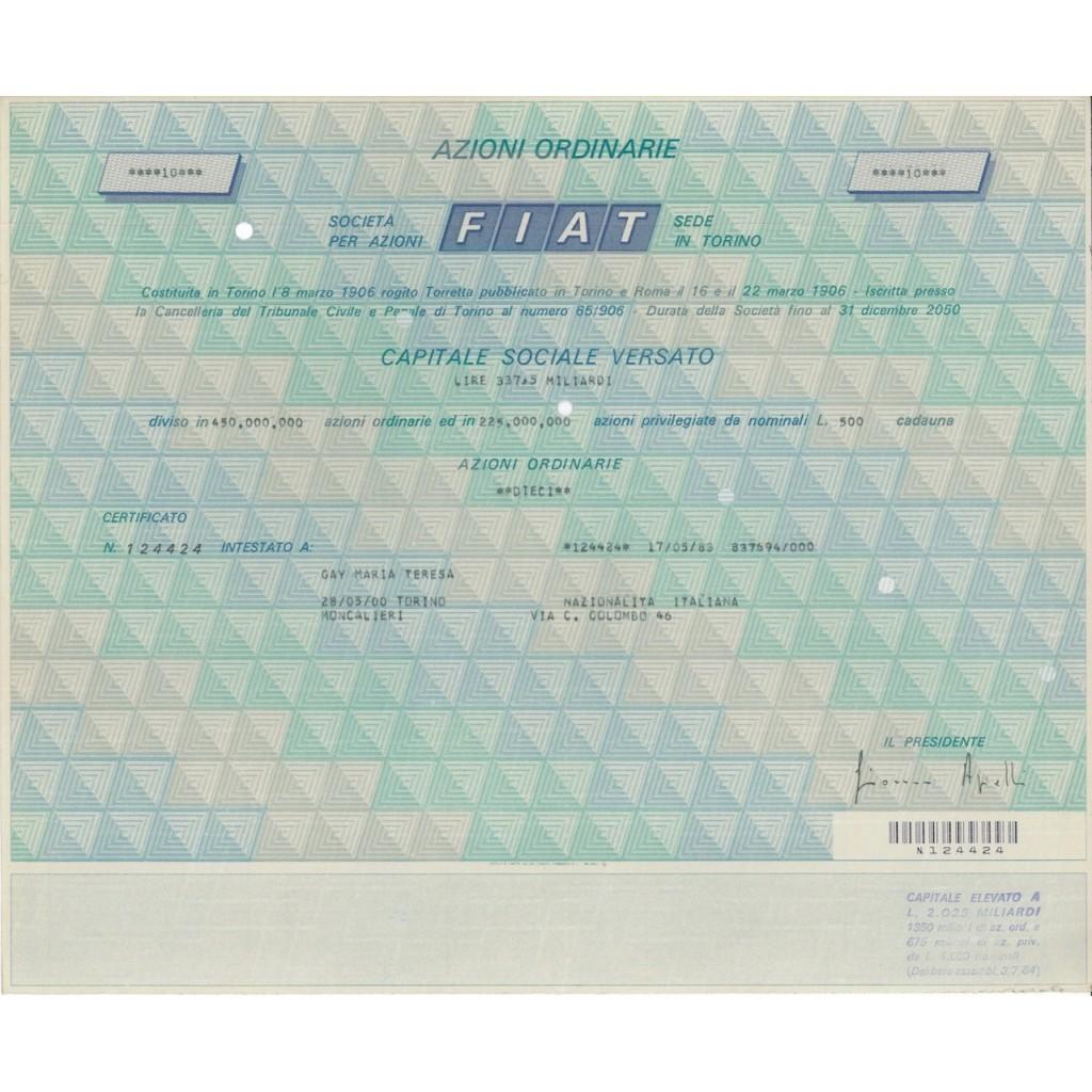 FIAT - 10 AZIONI ORDINARIE - TORINO 1983