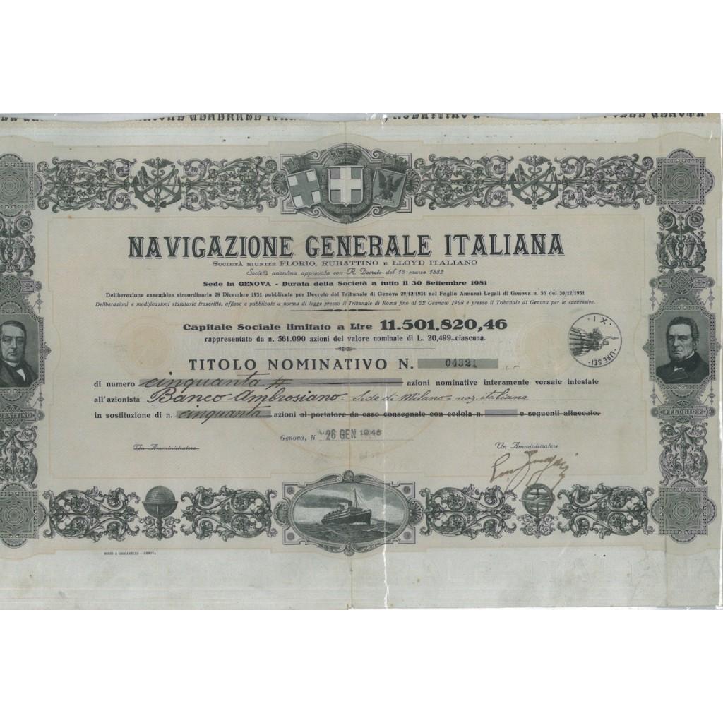 NAVIGAZIONE GENERALE ITALIANA - 50 AZIONI GENOVA 1946