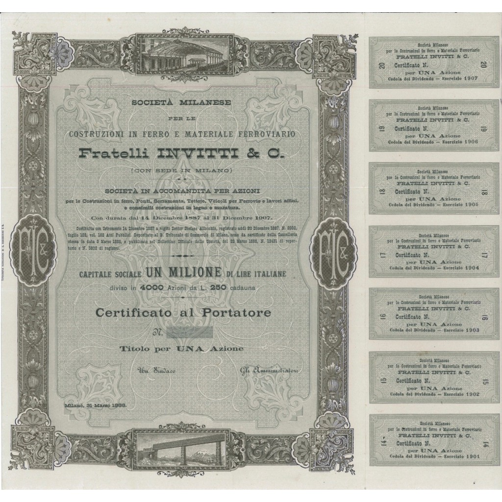 FRATELLI INVITTI E C. - FDS UNA AZIONE MILANO 1888