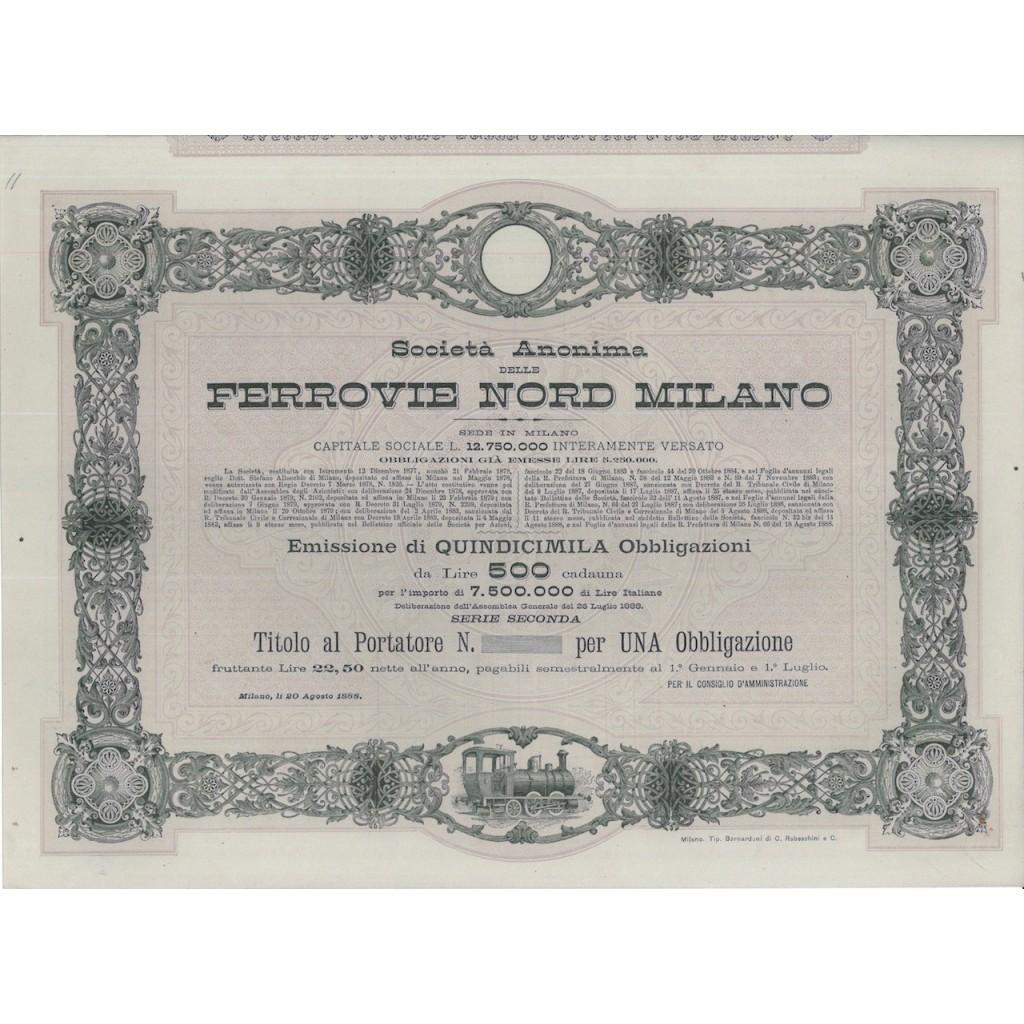 SOC. ANON. FERROVIE NORD MILANO - 1 OBBLIG.- MILANO 1888