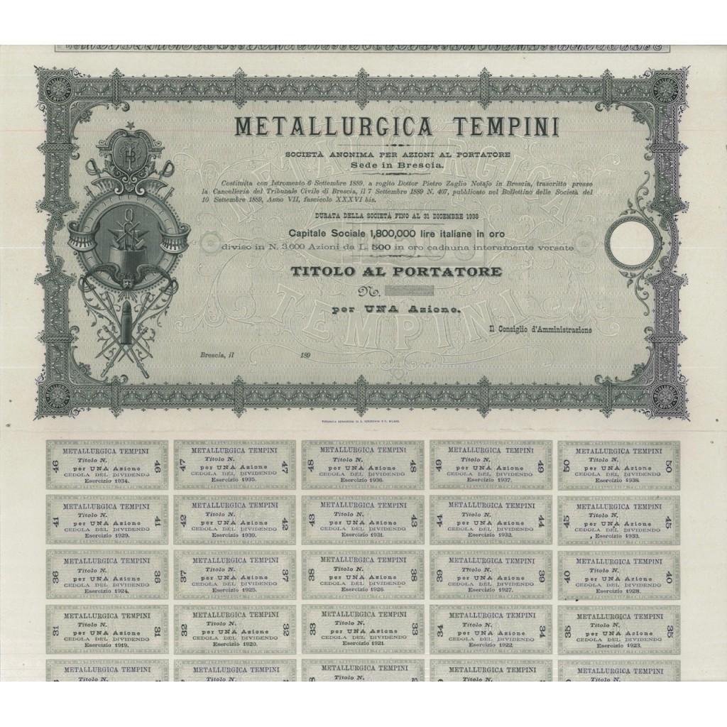 METALLURGICA TEMPINI - UNA AZIONE BRESCIA 1889
