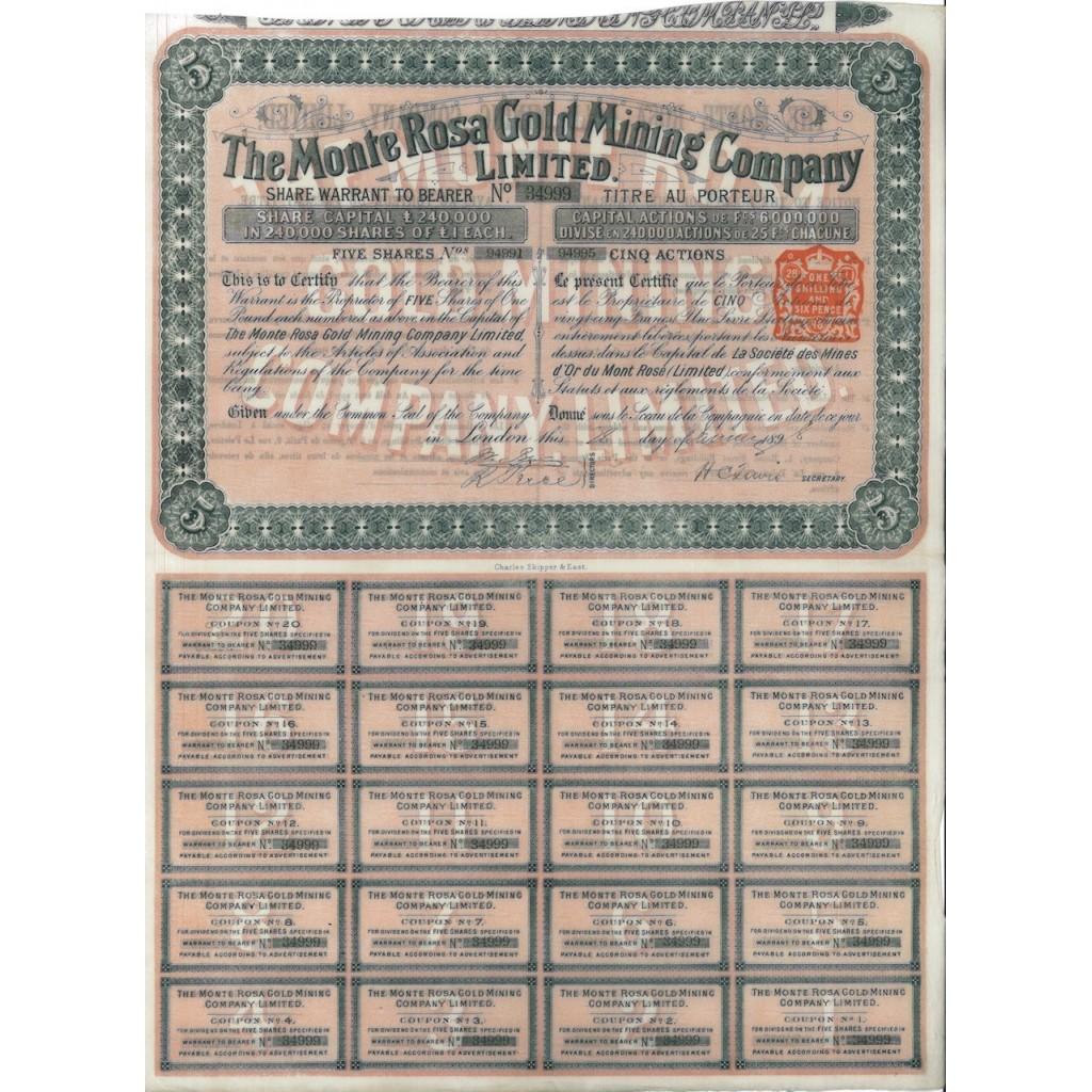 THE MONTE ROSA GOLD MINING COMPANY - 5 AZIONI LONDRA 1898