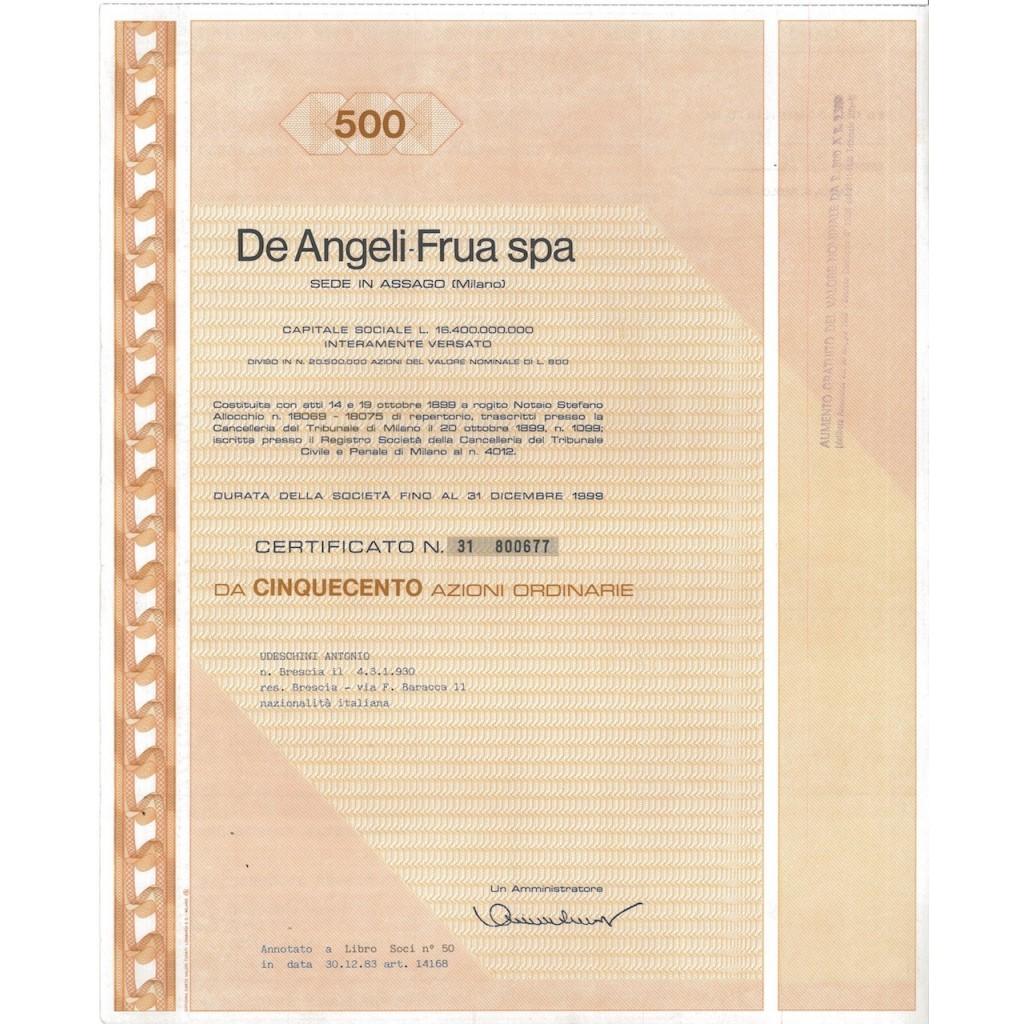 DE ANGELI - FRUA SPA 500 AZIONI MILANO 1983