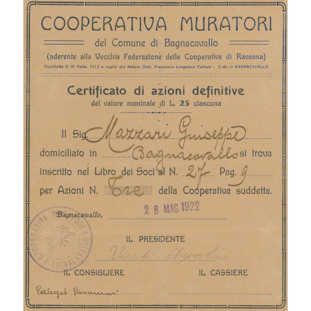 COOP. MURATORI DEL COMUNE DI BAGNOCAVALLO 3 AZIONI 1922