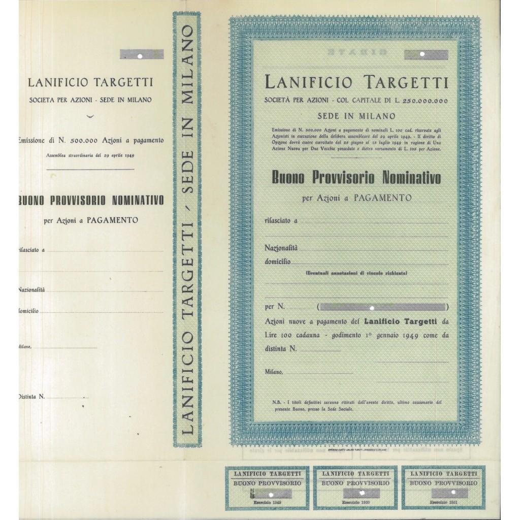 LANIFICIO TARGETTI - BUONO PROVVISORIO DI AZIONI MILANO 1949