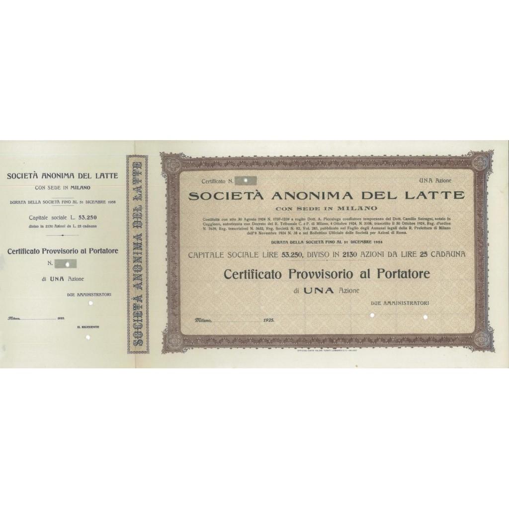 SOC. ANON. DEL LATTE - UNA AZIONE MILANO 1925