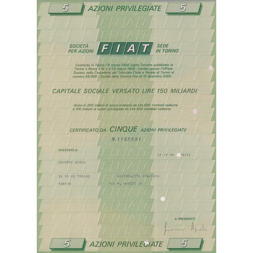 697fc62503 FIAT 5 AZIONI PRIVILEGIATE TORINO 1972