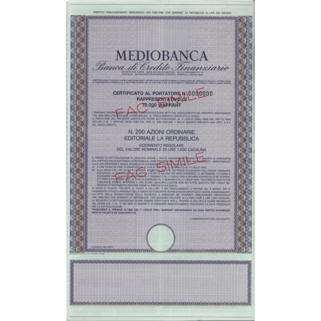 MEDIOBANCA - 10000 WARRANT DI 200 AZIONI - MILANO