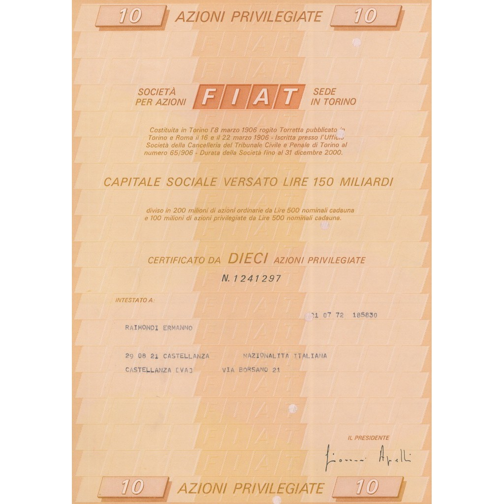 FIAT 10 AZIONI PRIVILEGIATA TORINO 1972