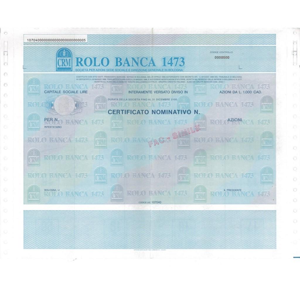 ROLO BANCA 1473 - AZIONI - BOLOGNA