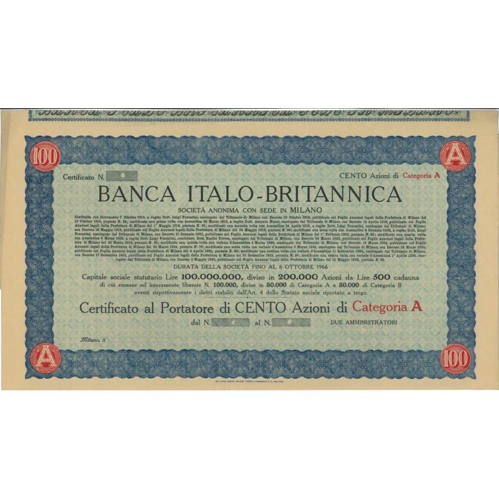 BANCA ITALO-BRITANNICA - 100 AZIONI MILANO 1916