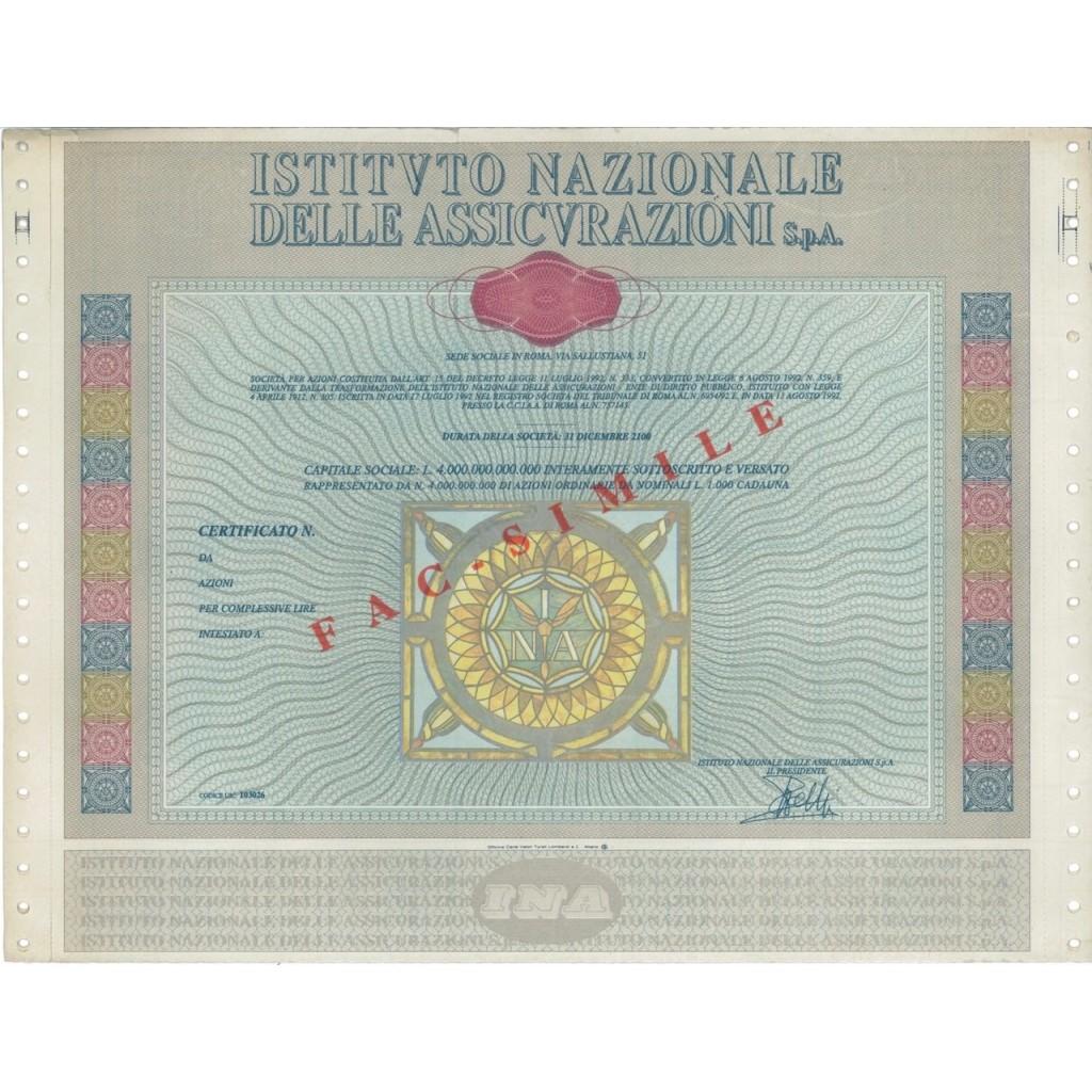 ISTITUTO NAZ. DELLE ASSICURAZIONI SPA - AZIONI ROMA 1992