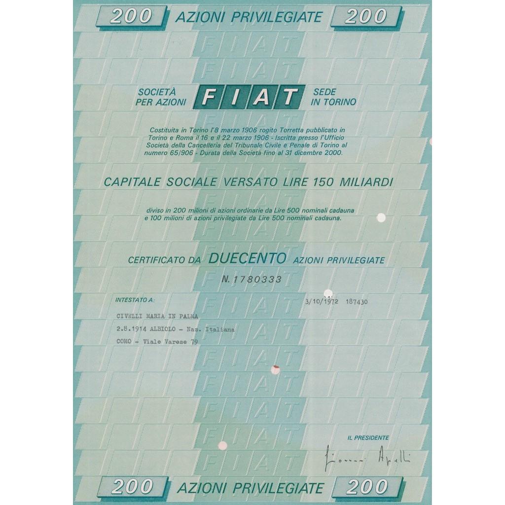 FIAT 200 AZIONI PRIVILEGIATE TORINO