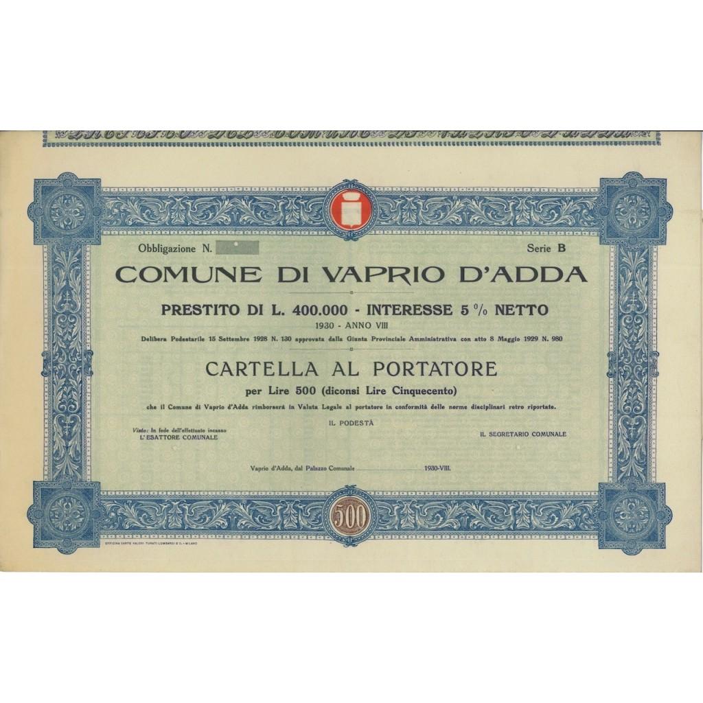 COMUNE DI VAPRIO D'ADDA - OBBLIGAZIONE SERIE B - 1930