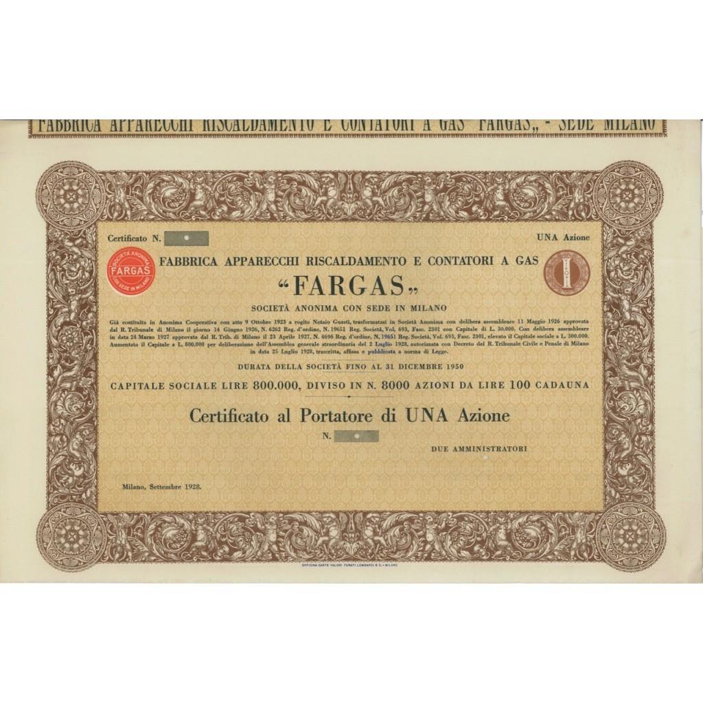 FARGAS - UNA AZIONE - MILANO 1928
