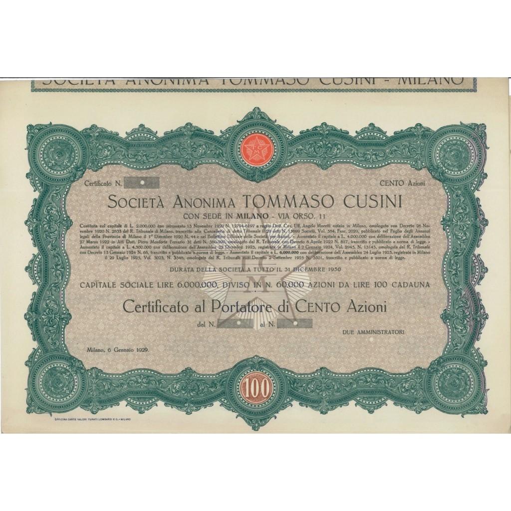 SOC.A NON. TOMMASO CUSINI - 100 AZIONI - MILANO 1929