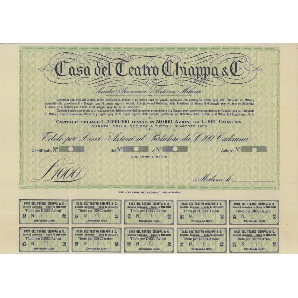 CASA DEL TEATRO CHIAPPA E C. - 10 AZIONI MILANO 1925