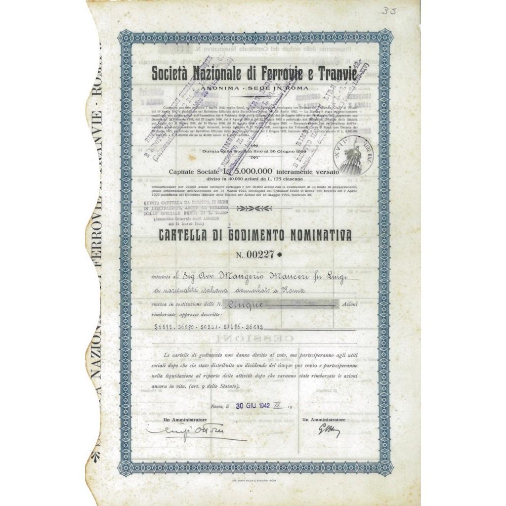 SOC. NAZ. DI FERROVIE E TRANVIE - 5 AZIONI ROMA 1942